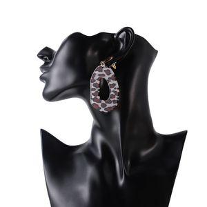 2018 Europe et Amérique Vintage Bohême Mode Couleur Acide acétique conseil femme boucles d'oreilles ovale Leopard imprimer déclaration boucles d'oreilles en gros