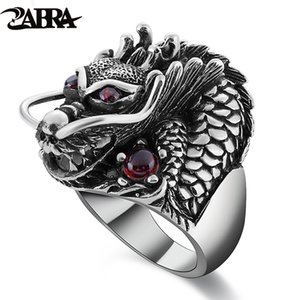 ZABRA 100% Sólido 925 Sterling Silver Dragon Red Zircon Eye Dominante Anillo de Los Hombres Vintage Punk Retro Gran Anillo Gótico Hombres Joyería Y1890706