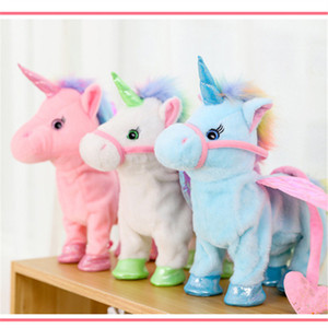 Unicorn Electric Plush Doll Kids Canta Walk Wriggle Cute Animals Toys Farcito PP Cotton Girls Pull Rope Festival Regalo di compleanno Soft Touch