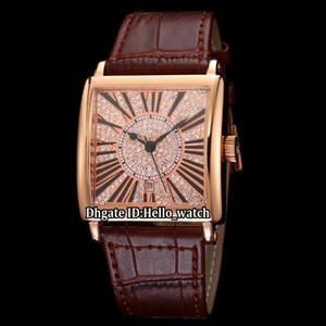 Moda 36 mm LADIES'COLLECTION Master Square 6002 M QZ Rose Gold Diamond Dial Cuarzo Reloj para mujer Correa de cuero Relojes de señora