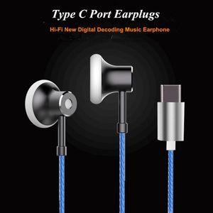 Hi-Fi Auriculares de audio digital In-ear USB tipo C Auriculares con decodificador Chip Earbugs Sound Lossless para Google / Samsung / MOTO / Sony / MICROSOFT