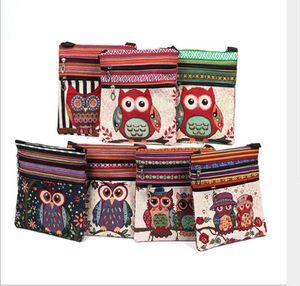 Canvas Owl Shoulder Bags estilo nacional de dibujos animados Casual Messenger bag cartoon Owl Striped bag niños monedero paquetes