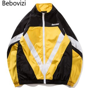 Bebovizi Marca Autunno Hip Hop Full Zip Up Jacket Cappotti Mens Moda Streetwear Vintage Color Block Patchwork Giacche a vento