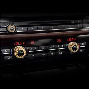 Auto-Stying Air Conditioning Manopole Audio Circle Cover Anello per BMW 5 6 7 Serie 5GT X5 X6 M5 X5 M6 X6 F10 F11 F11 F11 F15 F16 Accessori