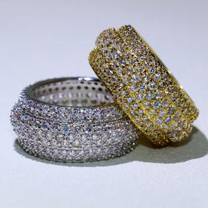 Сверкающие роскошные ювелирные изделия 925 стерлингов Silvergold наполненные Pave полный белый сапфир обещают MIRCRO CZ алмазные женщины свадебные кольца кольцо подарок