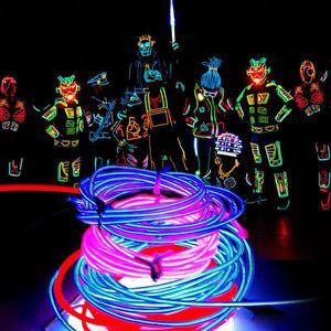 3 M Flexible Neon Light Glow EL Câble Corde Tube Flexible Neon Light 8 Couleurs De Voiture Dance Party Costume + Contrôleur De Noël Décor de Vacances Lumière