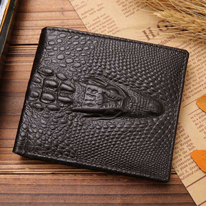 الرجال قصيرة جلدية بي أضعاف محافظ الجيب بطاقة الائتمان محفظة هدية جلد البقر الأسود لون القهوة محفظة جيب R002