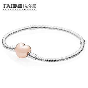 FAHMI 100% 925 sterling-argento-bracciali gioielli per le donne perline fai da te creazione di gioielli in oro rosa cuore cuore braccialetto chiusura 580719