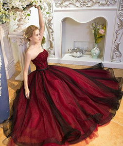 Sexy New Fashion Prom Dress, Beautiful Wine Red Tulle Nero Organza Evening Ball Gown Borgogna Abiti convenzionali Bordare Appliques Prom Gown