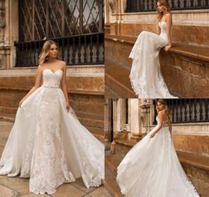 분리 기차 연인 레이스 아플리케 dresse 2020 인어 결혼식 보헤미안 vestido 드 노비 플러스 크기까지 기차 레이스 스윕