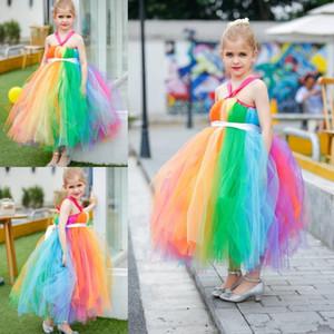 Rinbow coloré longueur de cheville robes fille de fleur Halter Flower Fairy Dress Tutu jupes belles petites filles Pageant robes pour mariage