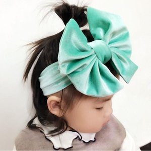 NUEVOS niños anudados 6 pulgadas Big Bow diadema niñas pleuche headwraps Jersey Blend Knit cross Velvet turban 9 colores