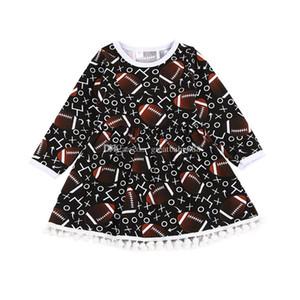 2018 nuovo bambino vestito da stampa di rugby lettera di cotone abiti da principessa moda bambini abbigliamento boutique ragazze nappa ball gown c3392