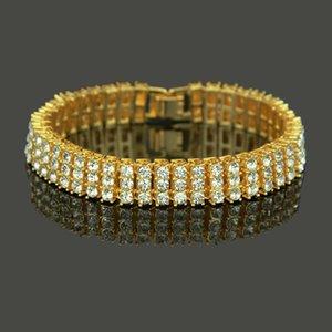 Hip Hop de alta qualidade dos homens jóia de ouro 18K para fora congelado Bling Cristal Pulseira Mens Black Diamond Bracelet Bangle