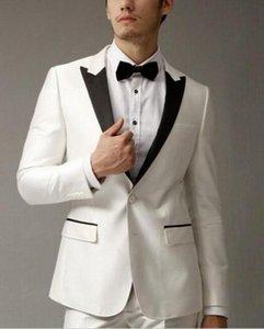Hot Billig Schwarz Revers Business Männer Anzüge 2 Stücke Groomsman Wear Hochzeit Smoking Für Männer (jacke + Hose + BowTie) Anzüge