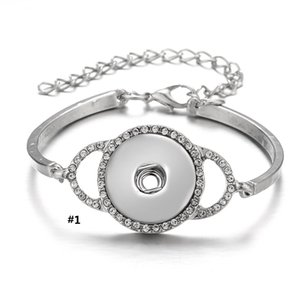 Noosa Chunks Snap Bracelet fit 18MM Charms Alloy Silver Plated con CZ Diamond Ajustes de joyería