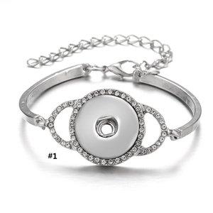 Noosa pedaços snap pulseira fit 18mm botões charms liga de prata banhado com cz diamante configurações jóias