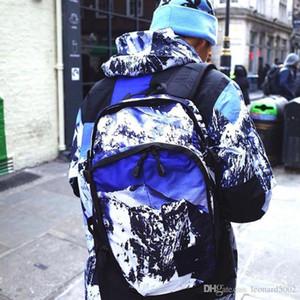 17FW The North x SUP Expedition Bolsa Montaña Mochila Snow Mountain Impreso Cremallera Moda al aire libre Pareja Casual Bolsa de senderismo
