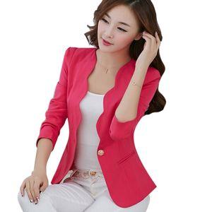 Großhandel-Rosa Casual Business Blazer Anzug Frauen One Button Jacke Mantel Outwear Blazer Candy Farbe 2017 Faddish Frauen Blazer und Jacken