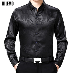 2018 New Fashion -Clothing Mens Shirts Casual Slim Fit Square Collar Chinese Style Printed Black Long Sleeve Shirts For Men