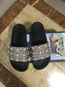 2018 Modeschuhe, weibliche Box-Stil Luxus-Designer, Perle Frauen-Strand-Pantoffeln zu dem niedrigsten Preis, die beste Qualität Größe 35-42