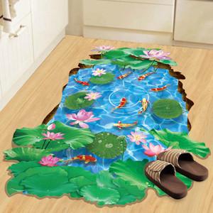Горячие 3D Stereo Рыба в Lotus пруд наклейки стены Съемный водонепроницаемый этаж Обои Декор DIY Домашнее украшение Art Mural Poster