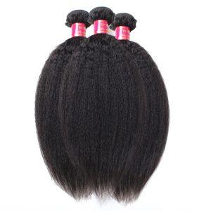 En iyi Kalite 10A Işlenmemiş Moğol Saç Afro Kinky Düz Örgü Uzantıları 3 Adet Lot İtalyan Kaba Yaki İnsan Saç Atkı