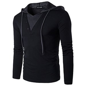 Männer Casual Slim Fit T-Shirt mit Kapuze / Hoodies Tops Männlich Schlank Male Tops Solid Color Stitching