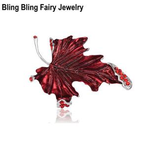 Moda smalto rosso canadese foglia d'acero pin spilla autunno autunno cristallo spilla gioielli,