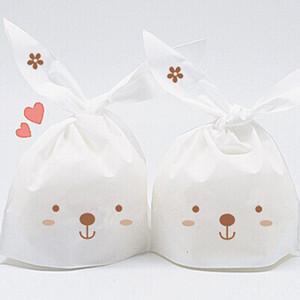 50 unids / lote Conejo Oreja Galleta Bolsas de Galletas Decoraciones de la fiesta de cumpleaños Casamento Dulces Bolsas Niños Baby Shower Favores Regalos