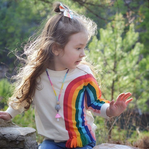Vieeoease Girls Sweatshirt Christmas Rainbow Kids Clothing 2018 Autumn Fashion Long Sleeve Fashion Tassels Top CC-028