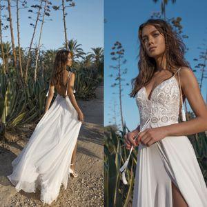 Asaf Dadush 2019 Boho Vestidos de novia Lado alto Split Lace Apliques Backless Beach Vestidos de novia Una línea de gasa Vestido de novia