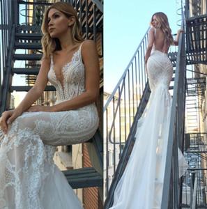 Русалка свадебное платье 2018 Sexy глубокий V-образным вырезом Backless Vestidos De Novia кружева свадебные платья для пляжа свадьбы