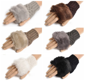 Women Girl Knitted Faux Rabbit Fur gloves Mittens Winter Arm Length Warmer outdoor Fingerless Gloves colorful XMAS gifts