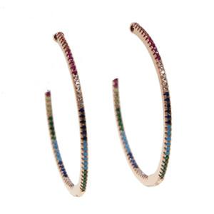 colore oro rosa top quality 45mm colorato cz hoop multicolor pietra Romantic Chic donne bellissime arcobaleno arcobaleno orecchino a cerchio
