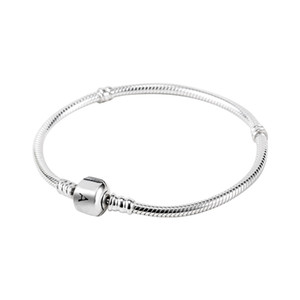 Toptan 925 Ayar Gümüş Bilezikler 3mm Yılan Zincir Fit Pandora Charm Boncuk Bileklik Bileklik DIY Takı Hediye Erkekler Kadınlar Için