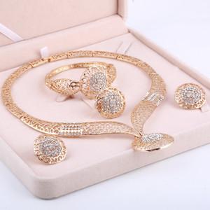 Set di gioielli in oro di Dubai Set di gioielli da sposa in cristallo di perle africane nigeriane Parure di gioielli etiopi con strass
