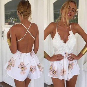 Bodysuit new high quality Lace Printing V Neck Strap Sleeveless Jumpsuit Rompers Playsuit Bodysuits women JULY10