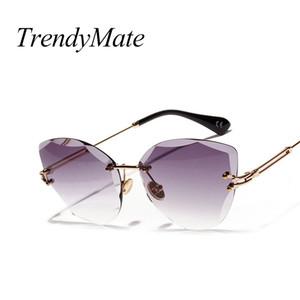 2018 женщин Кошачий глаз Солнцезащитные очки нерегулярные полигональные очки без оправы прозрачные женские оттенки цвета солнцезащитные очки 5276t