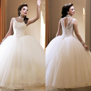Cheap Crystals Beaded Ball Gown Quinceanera Dresses 2019 Featuring Crew Neckline Capped Sleeve Keyhole Back Girls Prom Dress