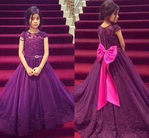 Purple Flower Girl Dresses for Weddings Fuchsia Bow Buttons Lace Appliques A Line Elegant Kid Prom Dresses 2018 Birthday Party Dress