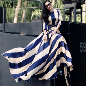 2018 Europe and the United States stripe long chiffon dress Large towed dress Large yard women's dress S-3XL C18111901