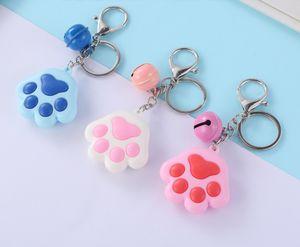 Cartoon Cat Paw Keychains Keyring - Small Bell Keychian Womens Bag Charm Handbag Pendant Car Key Ring Llaveros titular Llaveros