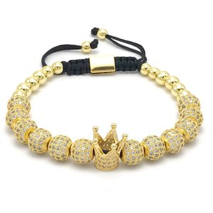 1 pz Nuovo design da donna Fashion CZ Imperial Crown Bracelet con 8mm color oro Micro Pave CZ Bracciale intrecciato macrame da donna