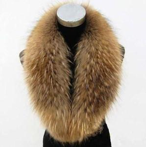 Directo de fábrica de Gran Collar genuino piel del mapache de alta calidad Silenciador bufanda de la piel real collar para las mujeres DL6245