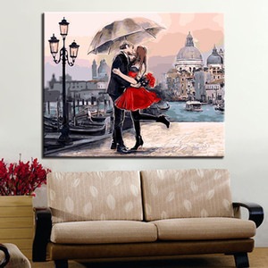 DIY Picture By Numbers Lover Kiss Picture Coloring By Numbers Wall Art Picture For Home Decors Artwork