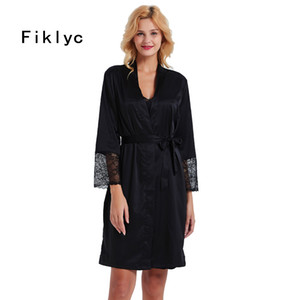 Fiklyc  fashion women's satin & lace patchwork hollow out sexy robe & gown sets two pieces ladies nightwear sets NEW design