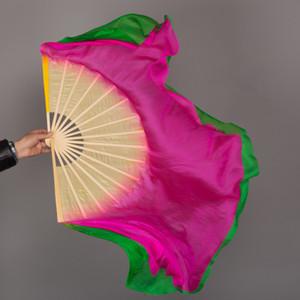 71cm 86cm Extra Longue Yangge Fan Veil Double Face Couleur Différente Femmes Ventre De Danse Du Soie Voile 1 Paire (L + R)