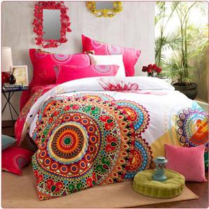Set di biancheria da letto di lusso boho queen king size biancheria da letto boemia copripiumino set, lenzuolo federa 4pc letto set 100% cotone