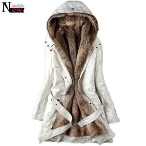 Moda kadın Kış Faux Kürk Astar Palto Sıcak Uzun Pamuk-yastıklı Ceket Parkas Bayanlar Kapşonlu Coat Kabanlar Kemer ile Hediyeler S18101203